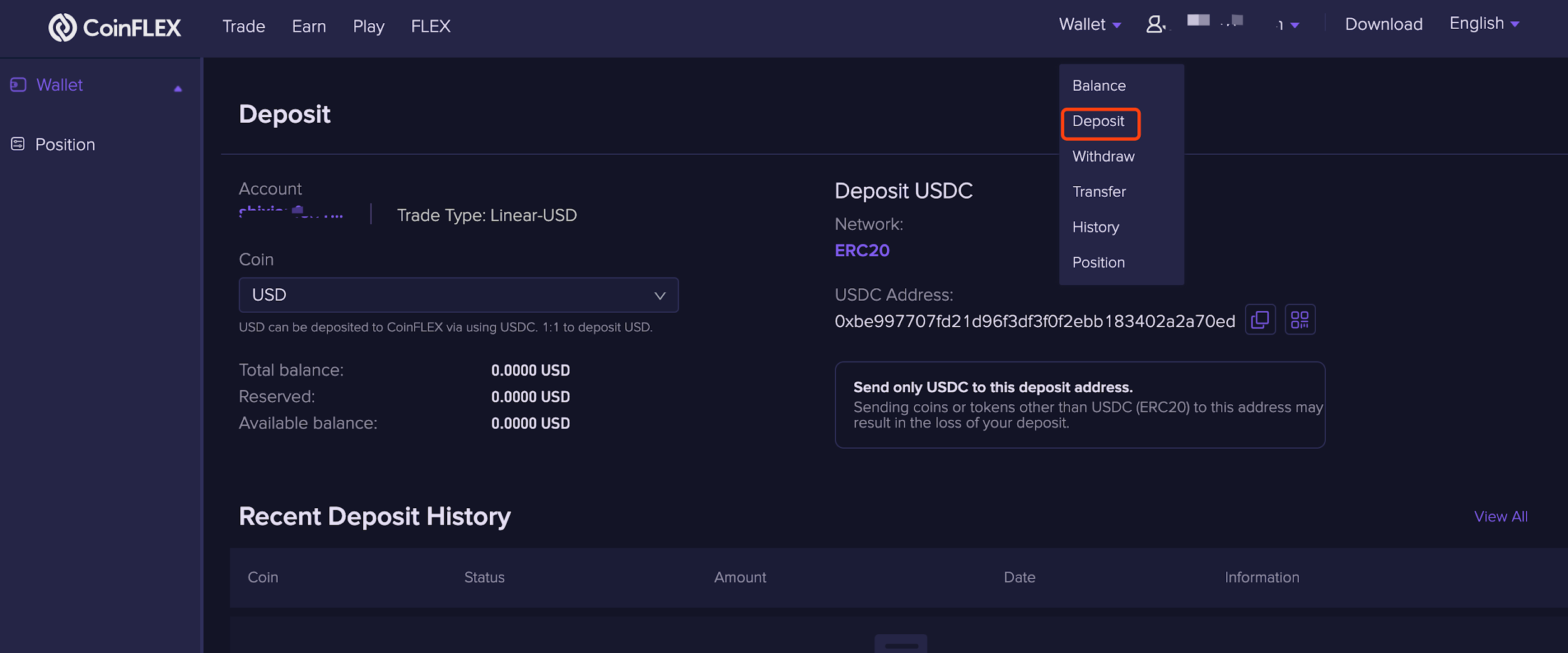deposit 1.1.4 Depositing funds