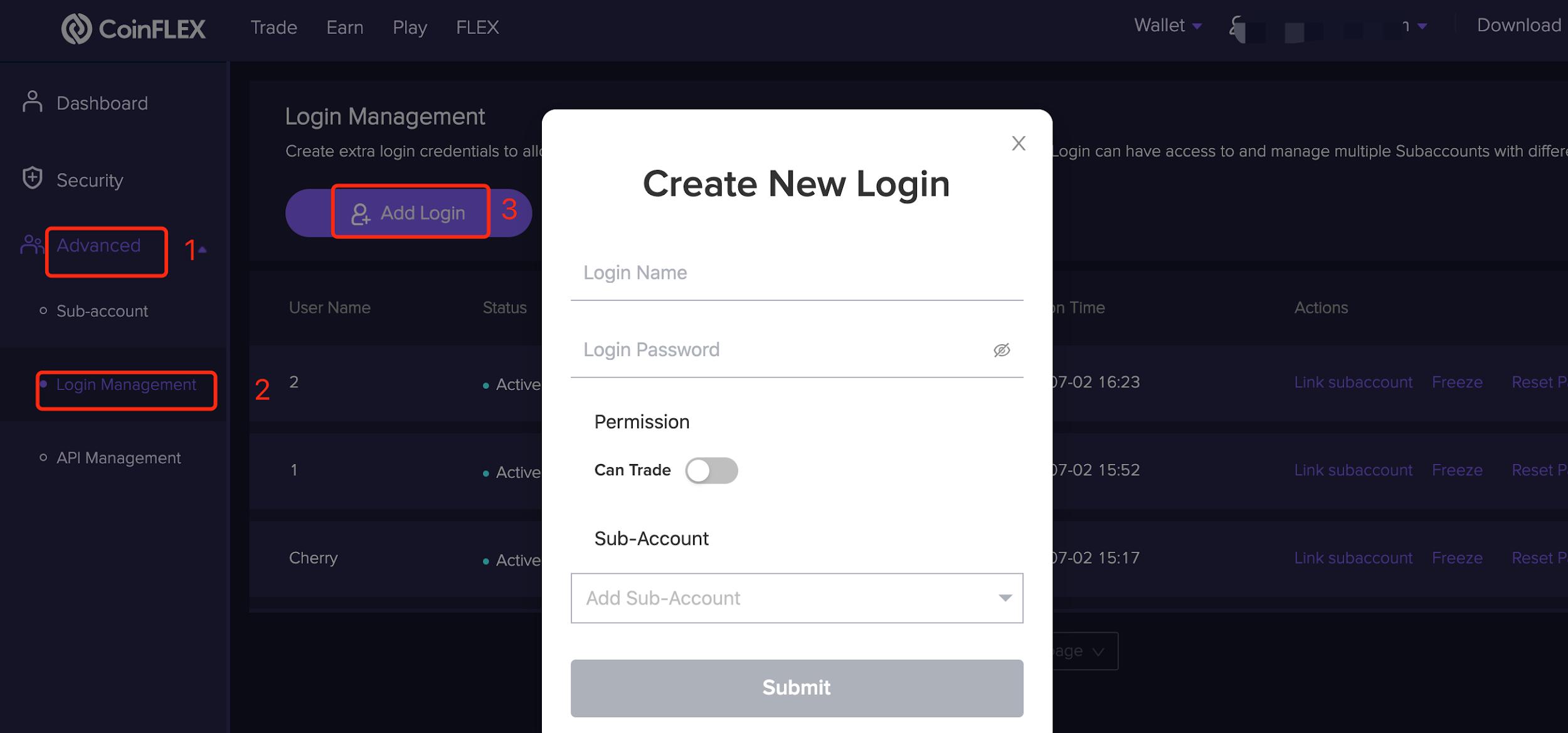 Create new login 1.1.13 Login account creation