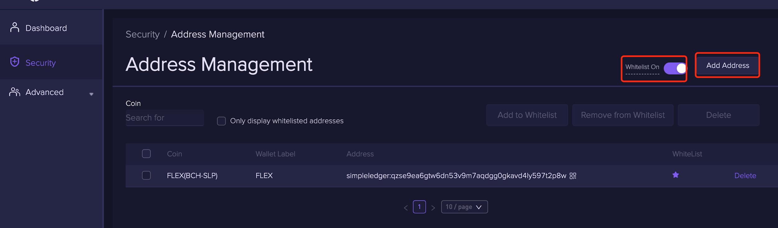 Add 1 2 1.1.14 Adding whitelist withdrawal addresses