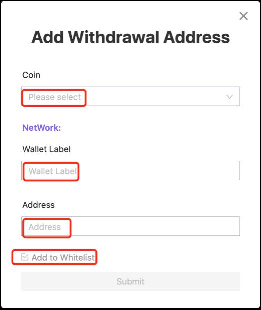 Add 1 3 1.1.14 Adding whitelist withdrawal addresses
