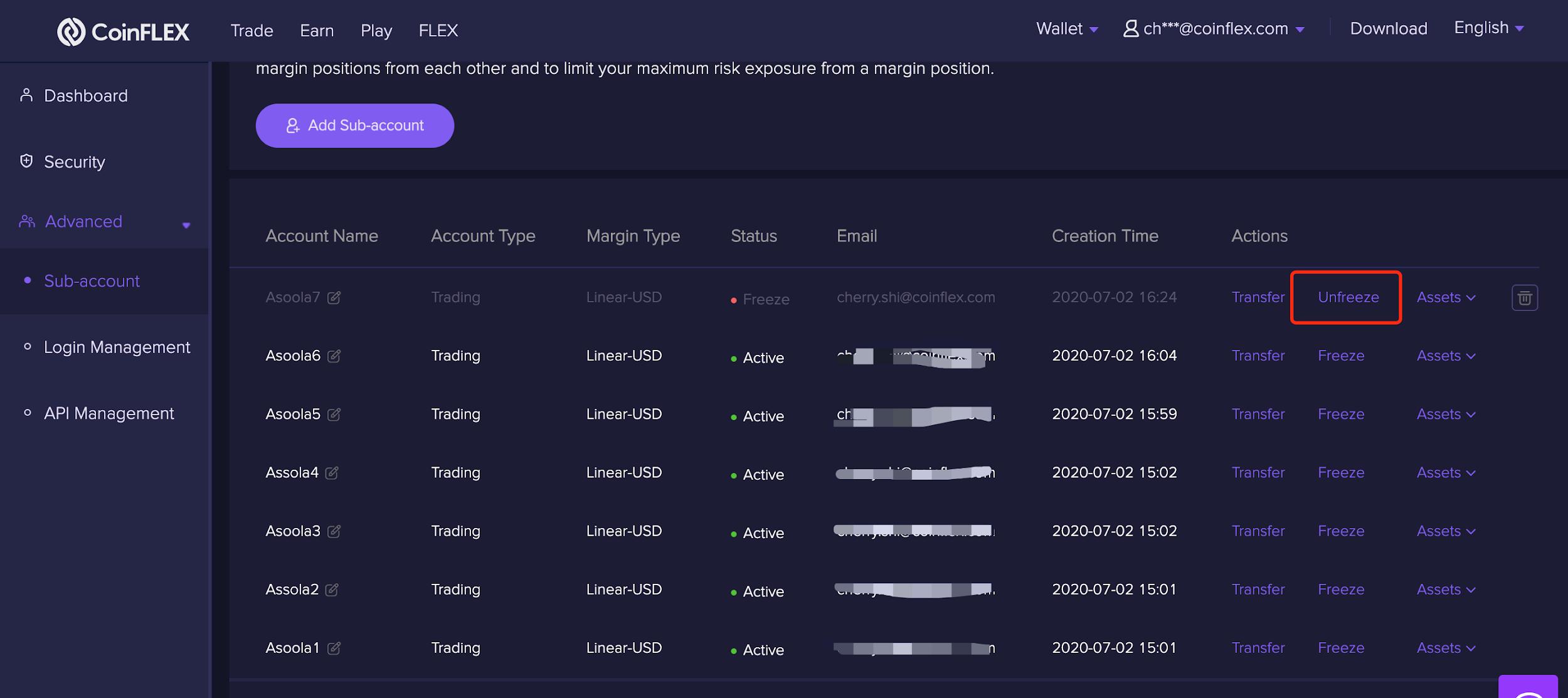 UF 1.2.3 Unfreezing a sub account