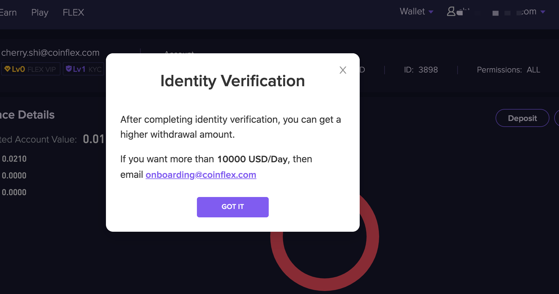 ID 2 1.3.1 Increasing withdrawal limits/KYC